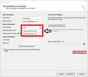 IMAP and POP Account Settings