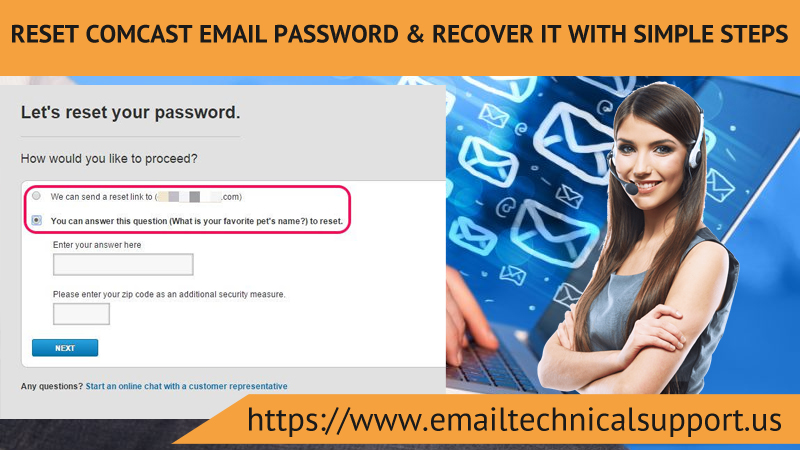 Reset Comcast Email Password