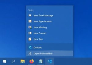 Outlook shortcut added to taskbar