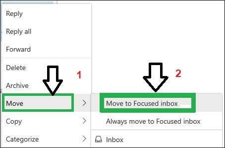 check the emails in other folders and move it to Focused inbox