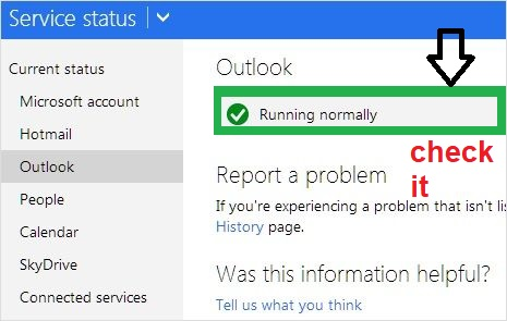 check the outlook service status